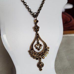 """18"""" Bronze Tone Ethnic Pendant Necklace Artisan"""